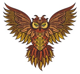 Patterned owl on the white background. African / indian / totem / tattoo design. It may be used for design of a t-shirt, bag, postcard, a poster and so on.