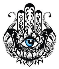Hamsa symbol. Hand of Fatima. Tattoo design