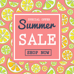 Multicoloured poster for Summer Sale. Vector.