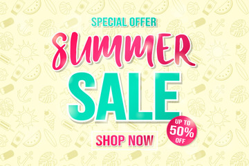 Multicoloured and shiny card for big Summer Sale. Vector.