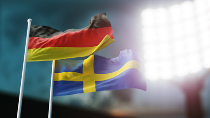 3D Illustration. Two national flags waving on wind. Night stadium. Championship 2018. Soccer. Germany versus Sweden