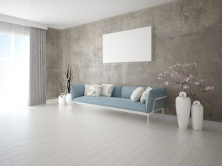 Mock up a perfect living room with a modern interior and a fashionable background.