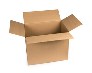 Open cardboard box isolated on a white background with clipping path. Mockup.
