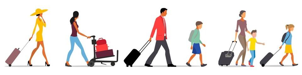 traveling people, baggage handling Fotomurales