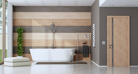 Contemporary bathroom with bathtub