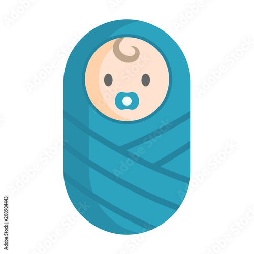 Flat icon of a baby wrapped in a blanket (swaddle)  Isolated