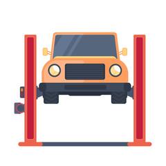 Car on lift platform. Repair service. Garage equipment. Vector illustration.