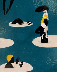 People swimming