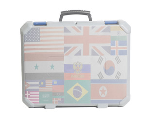 Business travel suitcase with Flags all countries of world