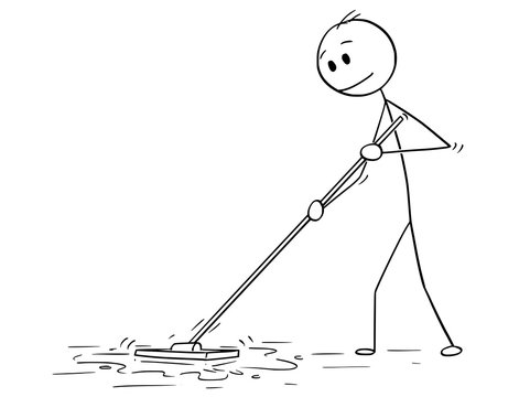 Cartoon stick drawing conceptual illustration of man cleaning floor with mop.