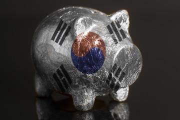 Piggy bank with South Korean Flag