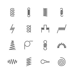 Metal spring flat line icons. Variety of flexible coil, elastic steel wire types. Thin signs flexibility property. Pixel perfect 48x48, Editable Strokes.