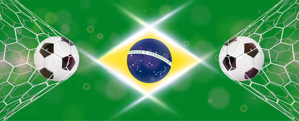 Soccer or Football wide Banner With 3d Ball on blue background and flag of Brasil. Football game match goal moment with realistic ball in the net and place for text