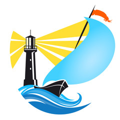 Sailboat and lighthouse vector