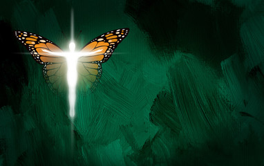 Graphic Christian Cross with man body and Butterfly wings. Conceptual illustration of new life in Christ.