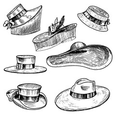 Summer Hats collection for elegant woman, female and ladies. Retro fashion vintage set. Breton Panama, Broad-brim, Slouch Cloche, Poke bonnet. Hand drawn engraved vintage sketch.