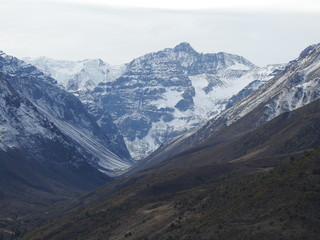Landscape of mountains and snow