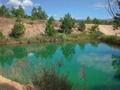 The stunning Pozos Azules ponds near Villa de Leyva, Colombia