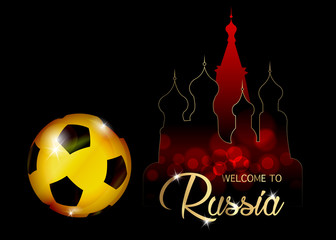 Football championship banner. Vector illustration of abstract golden soccer ball with skyline St. Basil's Cathedral in Moscow, for your design