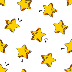 Seamless pattern witn yellow comic stars in pop art style isolated on white background. Vector illustration