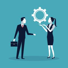 Business worker negotiating cartoons vector illustration graphic design