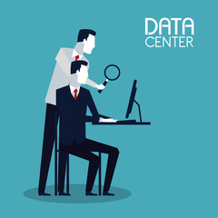 Business people and data center vector illustration graphic design