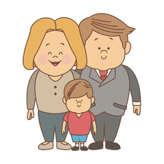 Parents and son family cartoon vector illustration graphic design