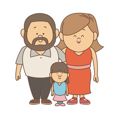 Parents and daugther family cartoon vector illustration graphic design