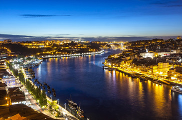 Evening view of Porto city and Douro river, Portugal