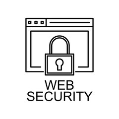 web security line icon. Element of seo and web optimization icon with name for mobile concept and apps. Thin line web security line icon can be used for web and mobile