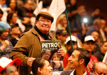 Supporters of Colombian presidential candidate Gustavo Petro participate in a meeting ahead of the second round of presidential voting, in Bogota