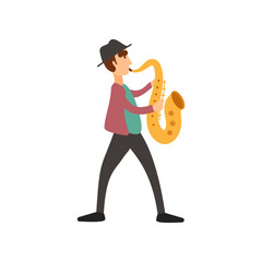 Jazzman in hat with saxophone, color vector illustration