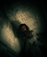 3d illustration of ghost woman in haunted house