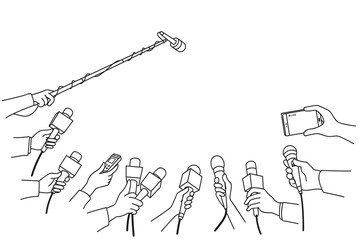 Hands with various microphones