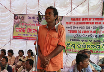 Lado Sikaka, a leader of the Dongria Kondh tribe, addresses a protest rally demanding the ouster of a Vedanta Limited alumina plant in Lanjigarh
