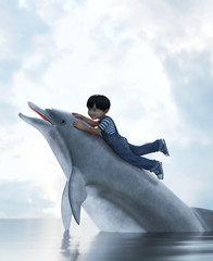 boy riding on a dolphin,3d illustration