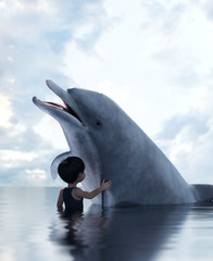 boy with a dolphin,3d illustration