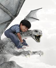 boy riding the dragon,3d illustration