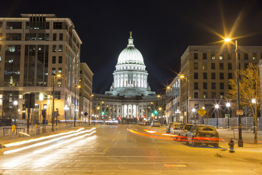 Downtown Madison, Wisconsin long exposure at night