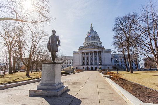 Statue of Hans Christian Heg in front of Wisconsin state capitol building in Madison Wisconsin