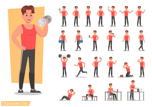 Health men are exercising character design set. Vector design.