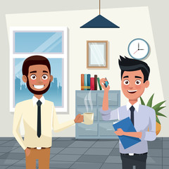 Workers working and talking in office cartoons vector illustration graphic design