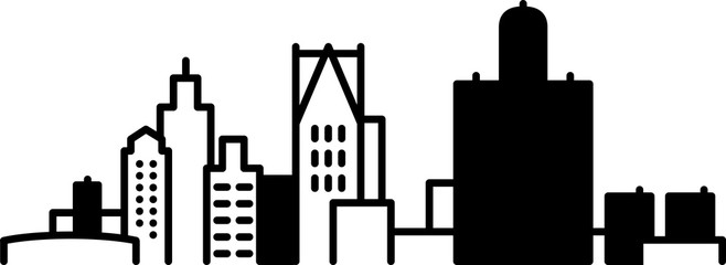 Simple icon illustration of the skyline of the city of Detroit, Michigan, USA in black and white.