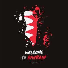 Welcome to Bahrain. Flag and map of the country