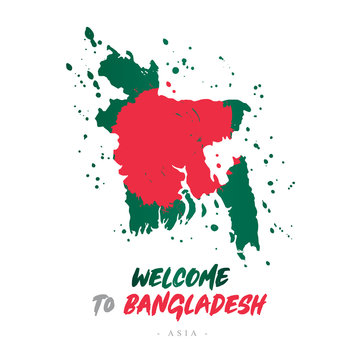 Welcome to Bangladesh. Flag and map of the country