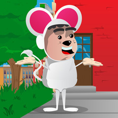 Boy dressed as mouse shrugs shoulders expressing don't know gesture. Vector cartoon character illustration.