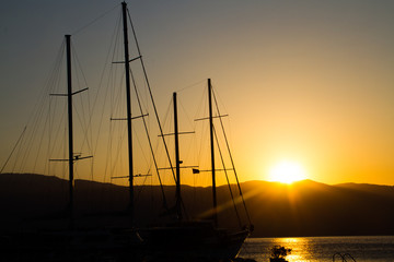sunrise and yacht in marmaris,Turkey