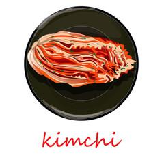 Kimchi, traditional korean food. Illustration on white isolated.
