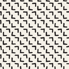 Hand drawn seamless pattern. Abstract geometric shapes background in black and white. Vector ethnic style texture.