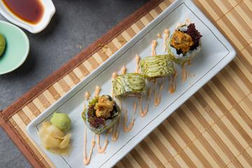 Soft shell crab roll sushi